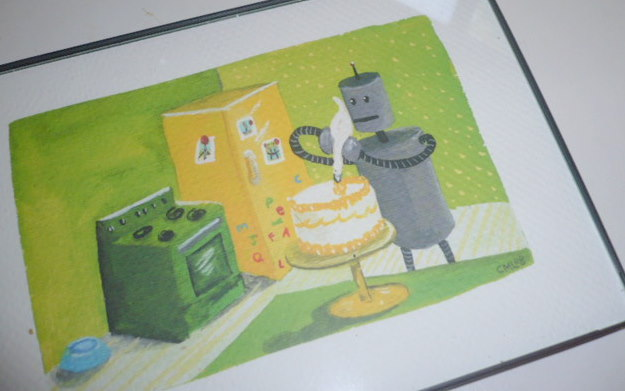 Cake-baking robots: my favorite! A bday gift from Sara Rose & Allison.