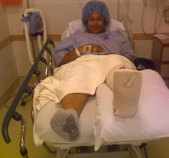 Mrs. No-Neck has surgery.